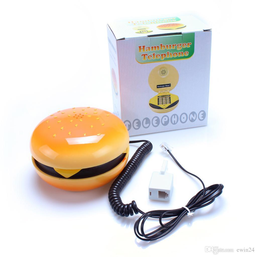 Lovelty Mignon Téléphone Maison de bureau avec cordon Hamburger Vivid Hamburger Forme Téléphone Téléphone Nouvelle marque Vendu par EWIN24