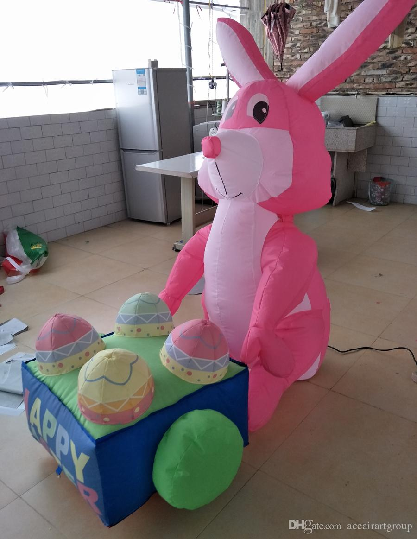 Aceitar personalizado vem com Mini ventilador inflável coelhinho da páscoa decoração ao ar livre ou interior