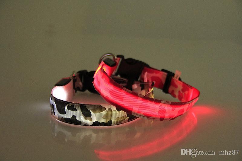 2.5 cm Ancho Camuflaje Nylon LED Mascota Perro Gato Collar Seguridad Noche Luz Mascotas Collares Cuello Flash