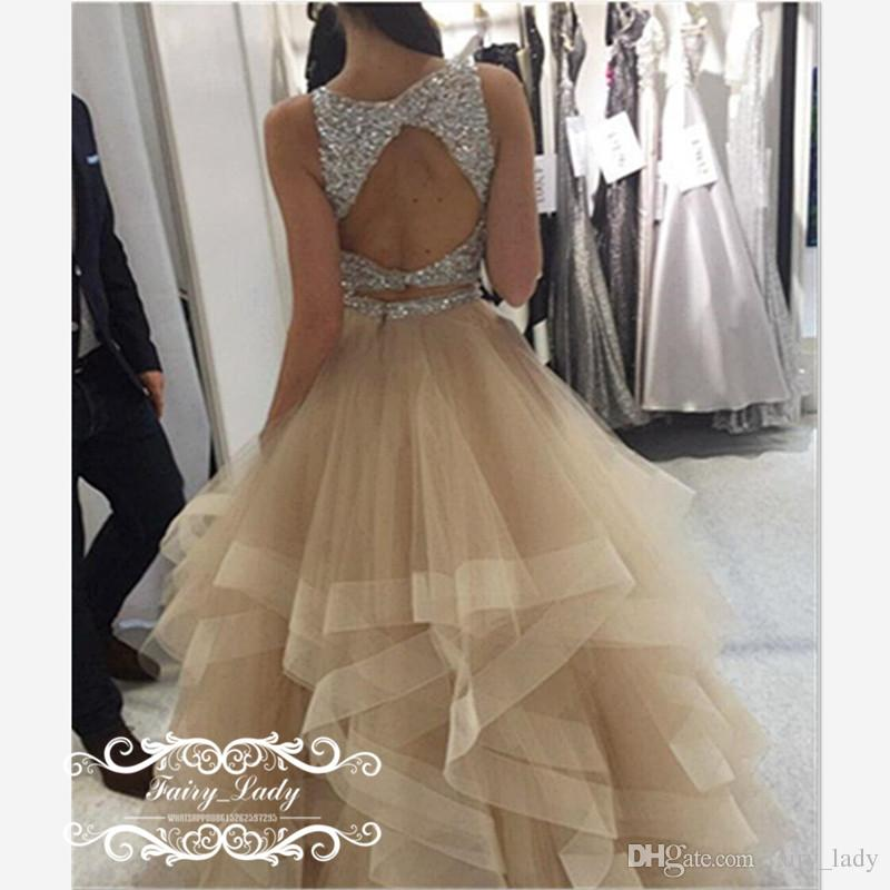 2018 Two Piece Champagne Tulle Prom Dresses Long Backless Bling Silver Beading Crystal Tiered A Line Pageant Dress Party Formal Gown