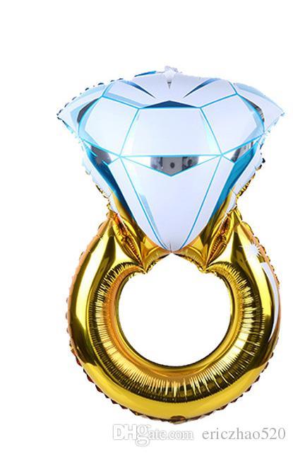 Presente da promoção Folha De Balões De Casamento Decoração Dia Dos Namorados Anel De Diamante De Ouro Balão Hélio Ar Bolas Fontes Do Partido
