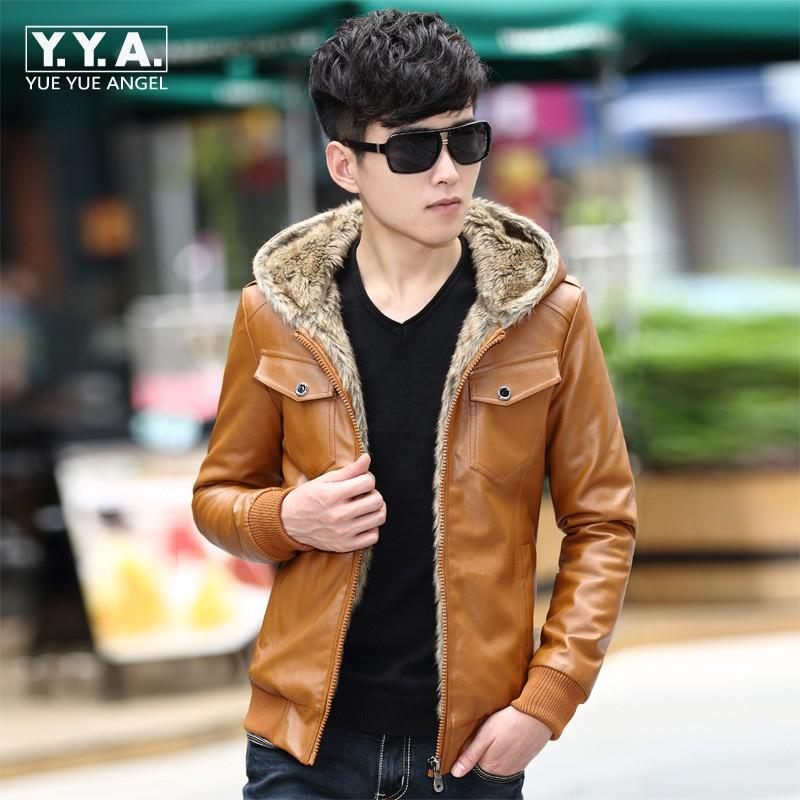 f9e86214af5 Wholesale- Brand Top Fashion Jackets New Mens Hooded Casual PU Leather  Jacket Fur Liner Winter Warm Coat Fur Hooded Parkas Motorcycle Coats Brand  Leather ...