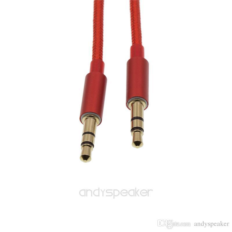 Câble auxiliaire tresse câble 3.5mm mâle à câble d'extension audio stéréo de voiture 1M mâle pour périphérique numérique / up