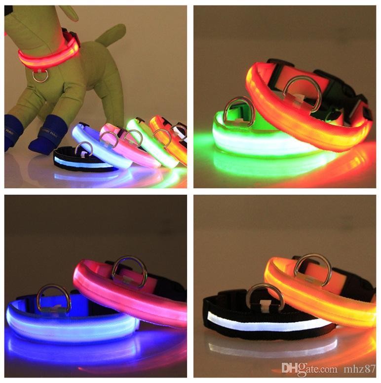 DIY Good Quality Nylon LED Flash Pet Collar Small Medium Dog Cat Safety Night Light Collars Screen Mesh