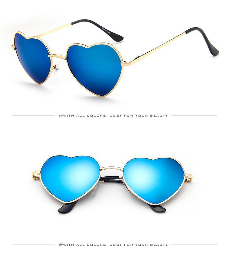 Moda Kalp şeklinde Güneş Gözlüğü Kız için Retro Metal Çerçeve Pembe Ayna Güneş Kadınlar Vintage Güneş Gözlükleri Gözlük D032