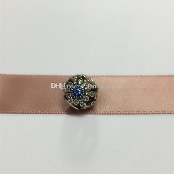 100 ٪ S925 فضة الثلج الكريستالي سحر الخرزة مع تشيكوسلوفاكيا الأزرق يناسب الأوروبي باندورا نمط مجوهرات أساور القلائد قلادة