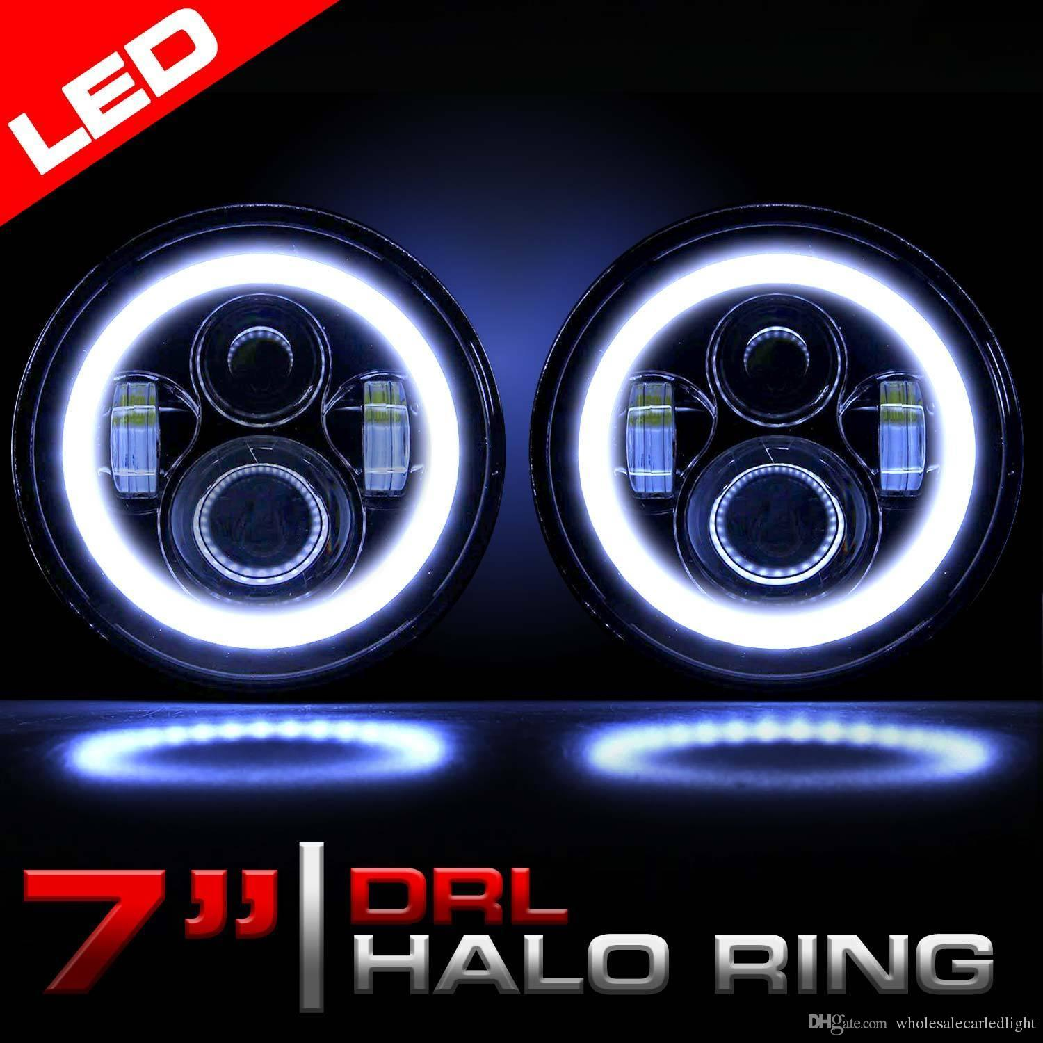 7 Inch Round LED Headlights Halo Angle Eyes For Jeep Wrangler JK LJ TJ 7  Headlamp For Land Rover Defender Hummer H1 Puch