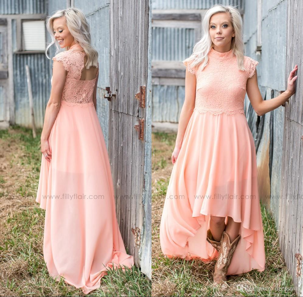 Cheap Country Style Peach High Low Bridesmaid Dresses 2017 Lace ...