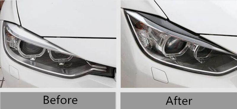 Front Headlight eyebrow trim strips for BMW 3 Series f30 2013-17 Carbon Fiber Car body decals decoration
