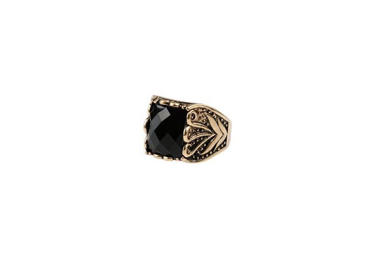 2017 Nueva Joyería de Moda de Lujo para hombre anillo plateado oro violento para hombres Anillos antiguos Anillos de dedo de la vendimia Retro Negro Onyx
