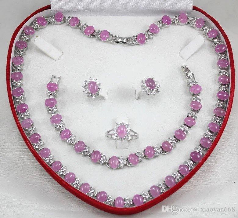 Cadeau de femmes mot gros collier de bijoux ensembles pour les femmes anime vert jade argent crystl boucle d'oreille Bracelet Collier Bague