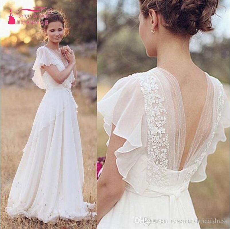 Discount Elegant Fairy A Line Wedding Dress V Neck White