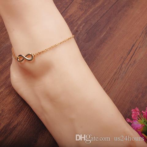 Wholesale Elegant Sterling silver Plated Double 8 Layer Girls Anklet Ankle Bracelet Chain Multi-Style Beach Weeding Girls Gift