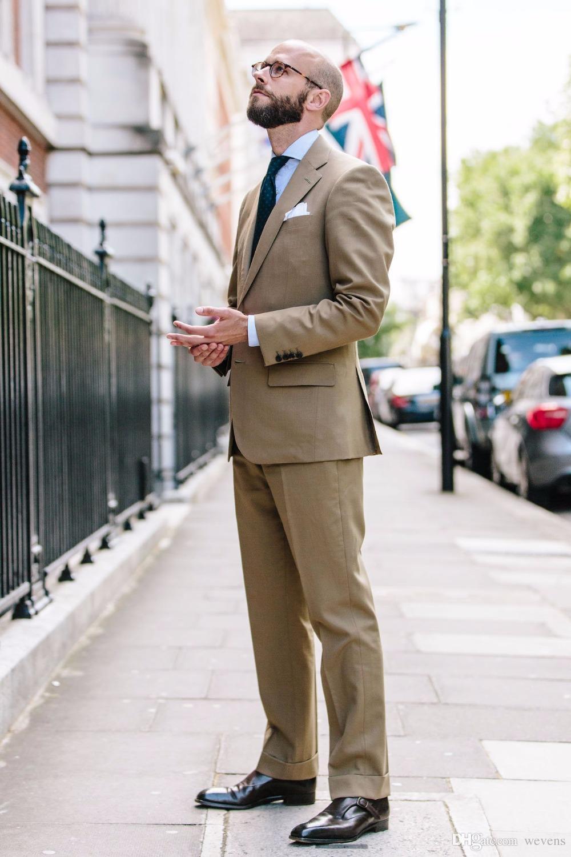 Latest Coat Pant Designs Tan Khaki Mens Suit Set Casual