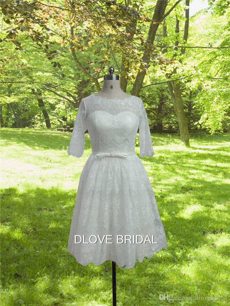 1950's Vintage Short Lace Wedding Dress with Half Sleeve Real Photo Corset Vestios De Novia See Through Knee Length Garden Bridal Gown