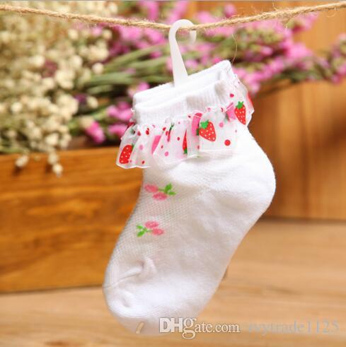 Baby Kids Socks New Arrivals Girls Lace Bowknot Sock Los calcetines de algodón de los niños Tamaño 2-12T