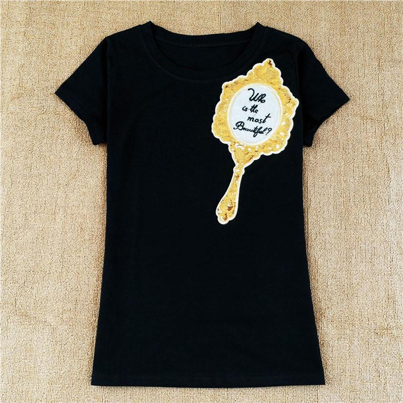 Moda Hot Mulheres camiseta Casual Lantejoulas Emboridery Espelho Mágico t-shirt de Manga Curta Tops Tee T-shirt das Mulheres kawaii XZ-113