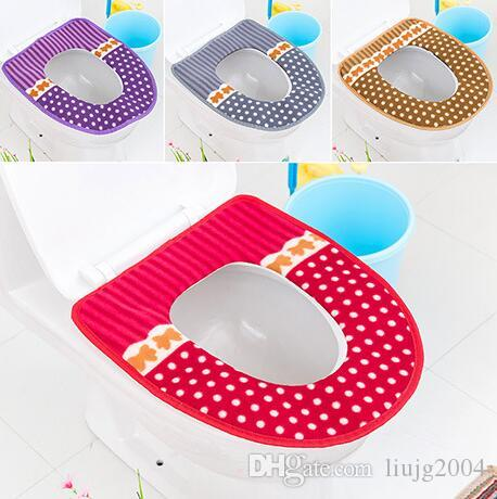 new fashion bathroom accessories warm soft striped and dots toilet seat cover washable toilet seat cushion cover with tape free shipping