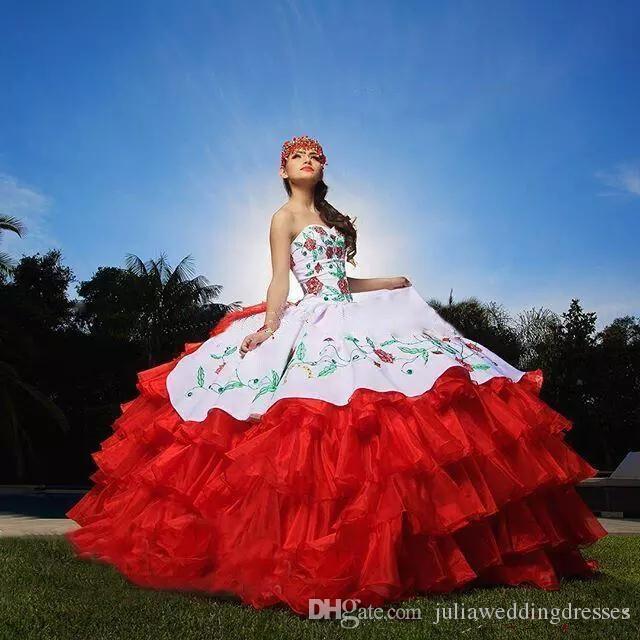 Embroidery Sexy Sweetheart Ball Gown Quinceanera Dresses Satin Sweet 16 Dress Lace Up Floor Length Vestido De Festa BM85