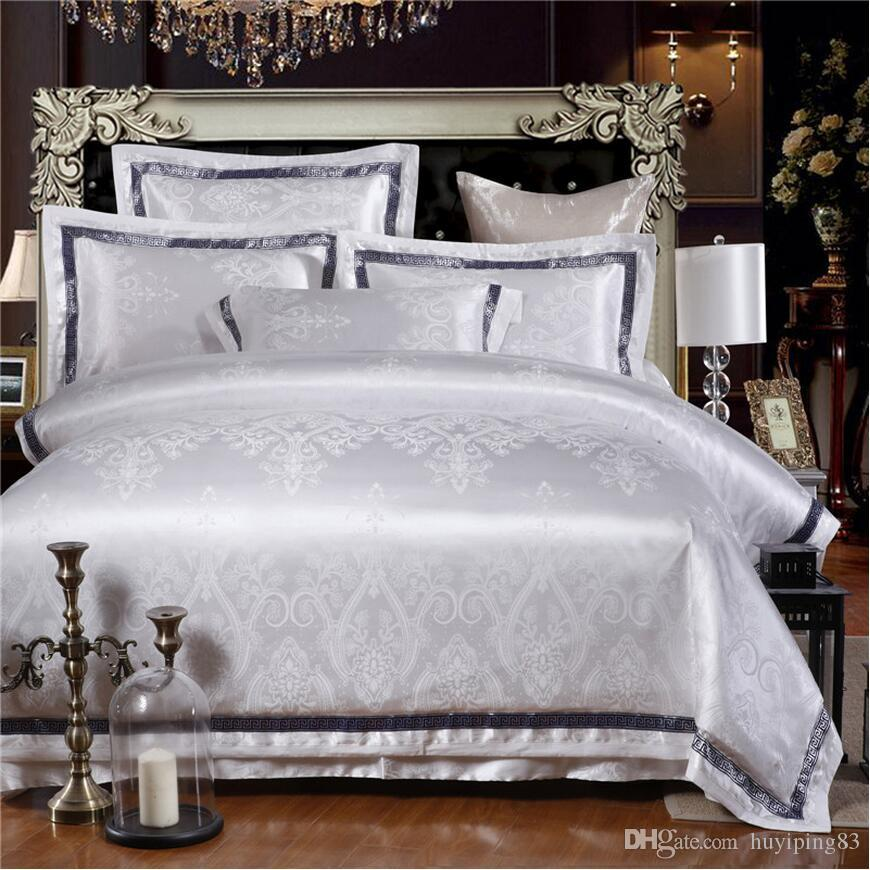 Jacquard satin bedding sets king queen size beige/white/gold Embroidered bedlinens duvet cover bed sheet bedclothes cover pillowcases