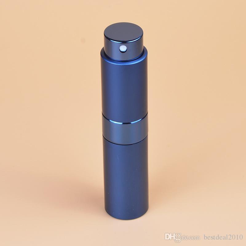 휴대용 8ml 로터리 스프레이 병 양극 처리 된 알루미늄 스프레이 향수 병 유리 빈 메이크업 향수 튜브 병 고품질 2018 새로운