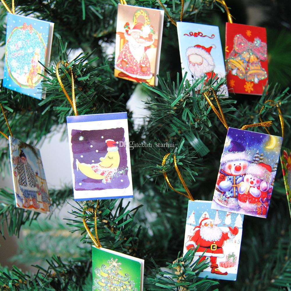 6.5*5.5CM Christmas tree Cards Decoration Xmas Wishing Card Sweet Lovely Christmas Tree Ornaments Cards Gift Have in stock WX9-133