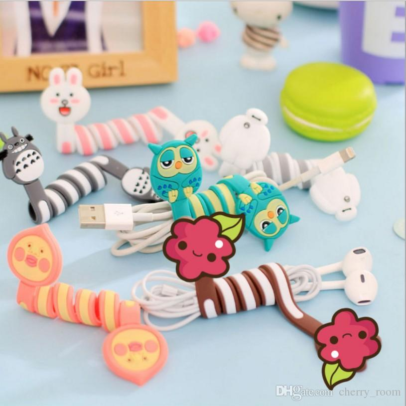 2019 Cute 3d Cartoon Wrap Cable Wire Clip Animal Pvc Headphone Cable