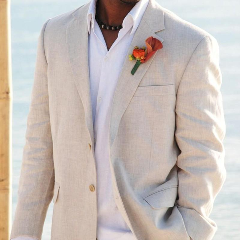 Wholesale- Simple Wedding Suits Tuxedos for Men Grooms Tuxedos Mens Suits 2017 Slim Fit beige Beach Groomsmen Suits Men Jacket+Pants