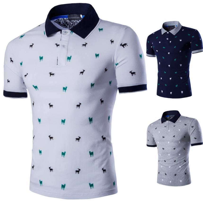 cc80a1f8dbaca Acheter Polo Homme Chemise Hommes 2017 Mode Homme Imprimé À Manches Courtes  Slim Fit Revers Polo T Shirts Casual Grayrands Polos Hommes 5XL De  15.23  Du ...