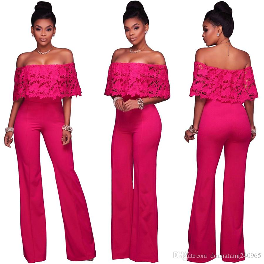 d8a50aca179 2019 European Style Sexy Lace Tube Top Jumpsuit Women Jumpsuit Fashion Sexy  Lace Off The Shoulder Long Jumpsuit Free DHL From Donnatang240965
