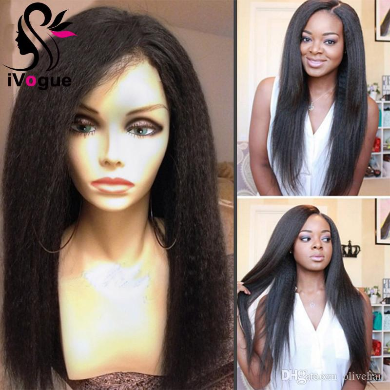 Italian Yaki Human Hair Lace Front Wigs Brazilian Virgin Hair Full Lace Human Hair Wigs Kinky Straight Glueless Lace Wig