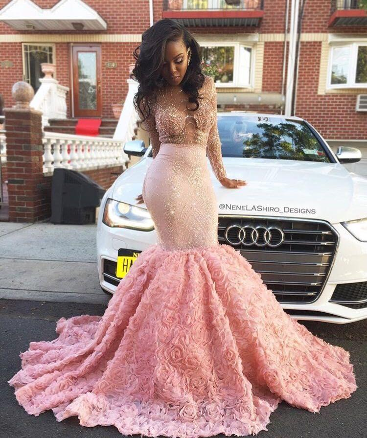 Luxury African Prom Dresses for Black Girl Pink Lace Long Sexy Sheer 3D rose floral cathedral train Crystal Engagement Evening Dress
