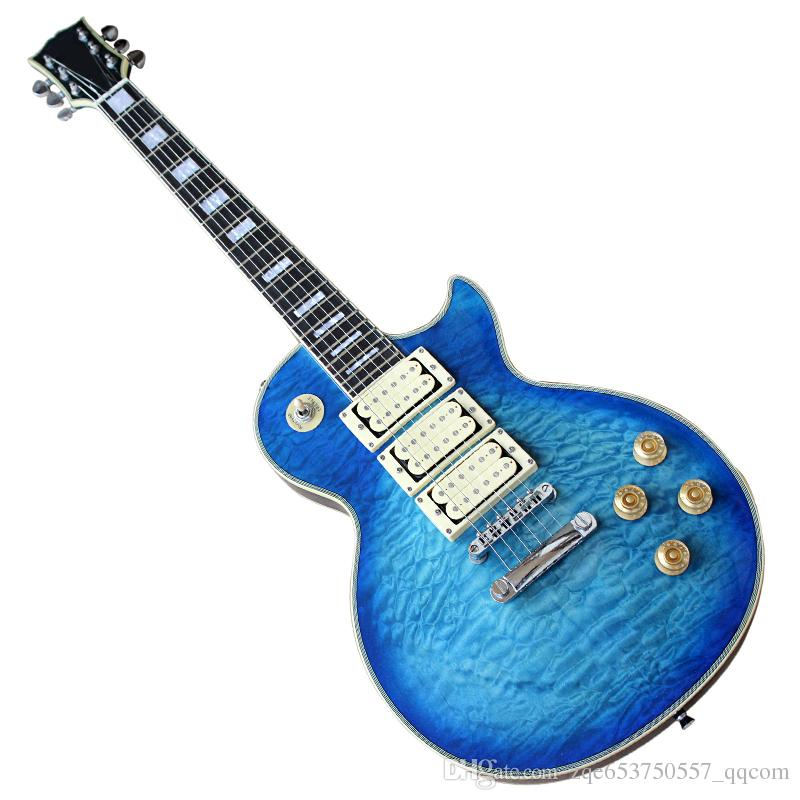 Factory Custom Blue Electric Guitar With Quilted Maple Veneer 3