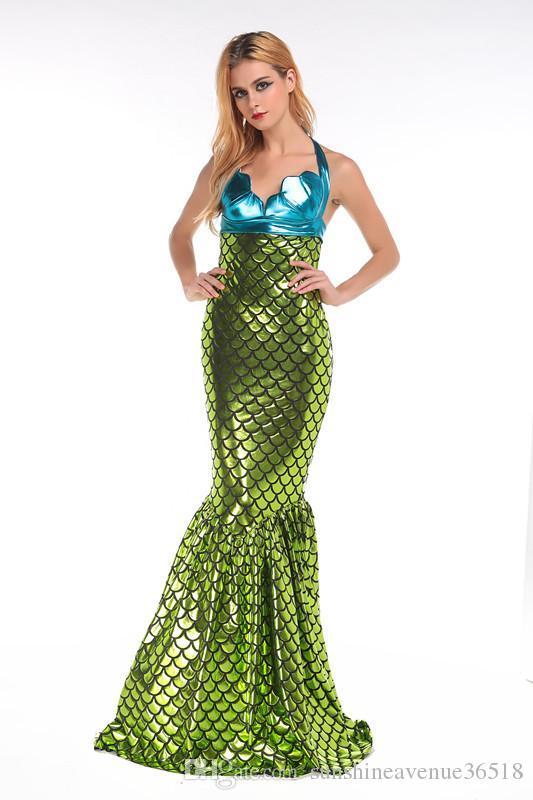 Halloween Kostüm Fantasy sexy Pailletten Meerjungfrau Uniformen Die kleine Meerjungfrau Kleid Das BH-Kleid Anzug Abendkleid