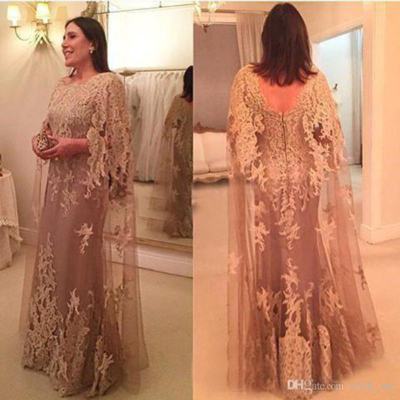 Champagne Mother Formal Wear Plus Size Gowns Long Sleeves Evening ...