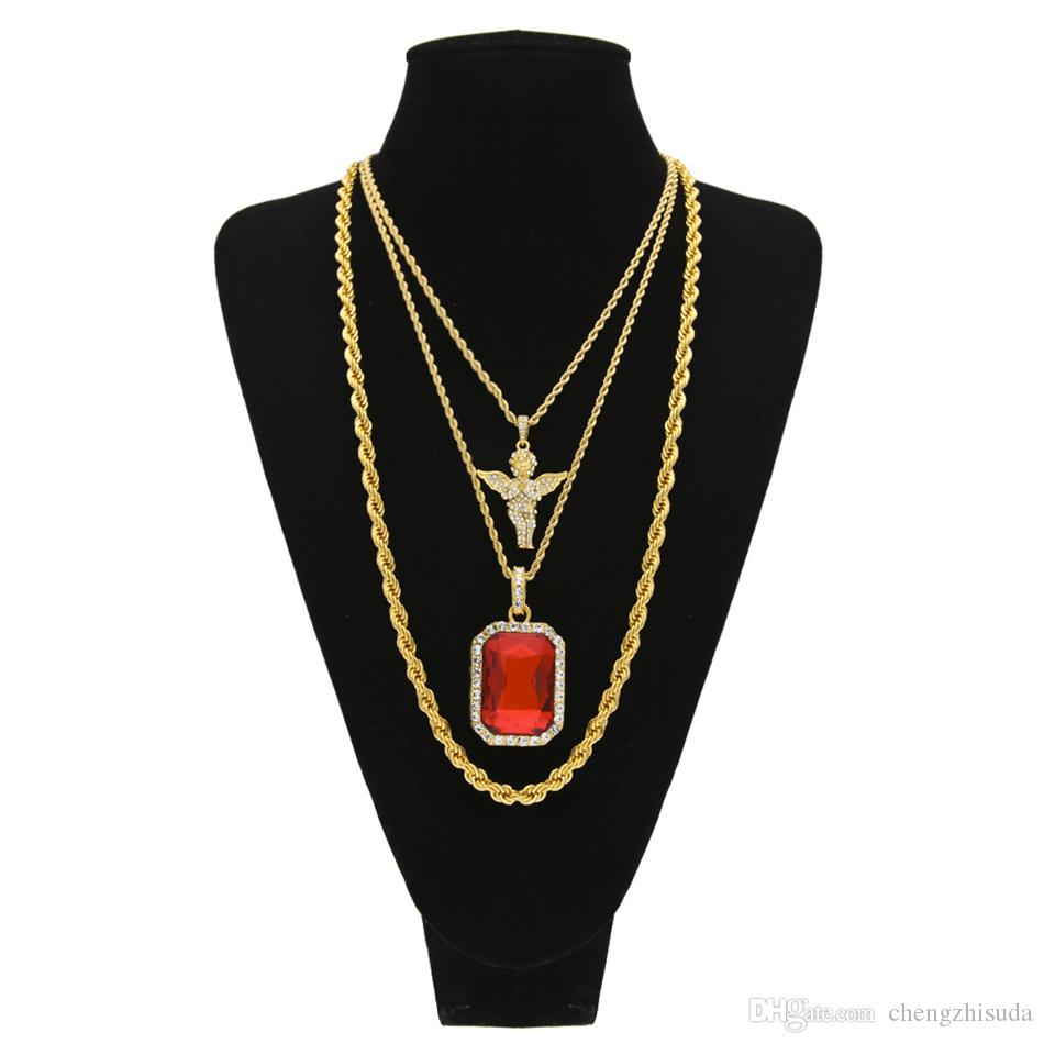 Men Hip hop Jewelry Long Rope Chain Iced Out Full Rhinestone Angel With Square Red 3 layers Pendant Necklace Set
