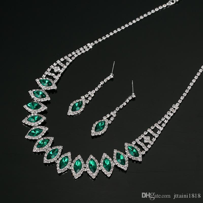 2017 nuovi monili placcati argento argentati della collana della collana di cristallo + degli orecchini placcati argentati liberi dei monili delle donne di trasporto