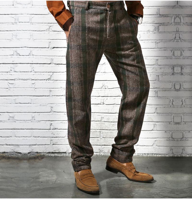 477139618d3 2019 Wholesale British Skinny Casual Men Pants Fashion Vintage Lattice  Pencil Pants Autumn And Winter Men S Casual Pants Striped Men S Trousers  From ...