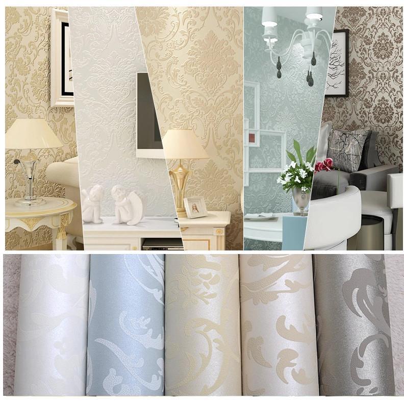 Gros-Non-tissé européen brillant élégant bleu beige blanc moderne damassé  papier peint salon moderne luxe papier peint pour la chambre à coucher