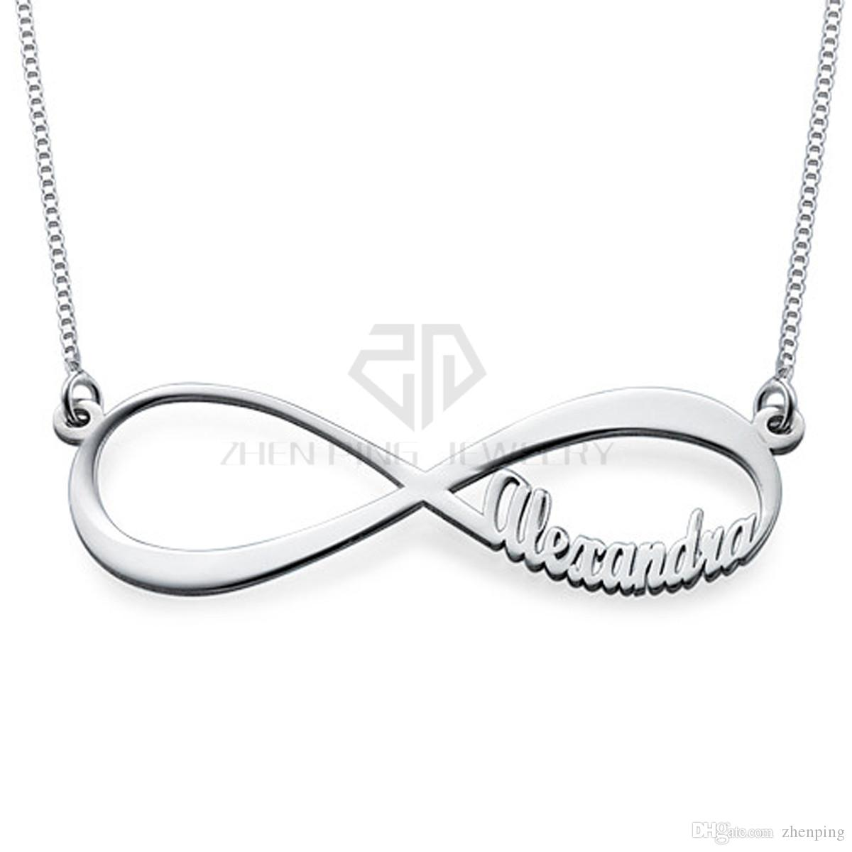 Hot Sales High Polished stainless steel custom-made name Desgin pendant Infinity Name Necklace gift jewelry with bag