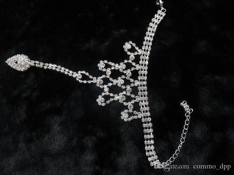 Mujeres de la moda joyería del pie beach wedding Rhinestones de cristal blanco tobilleras sandalias descalzas para boda nupcial accesorios de la joyería