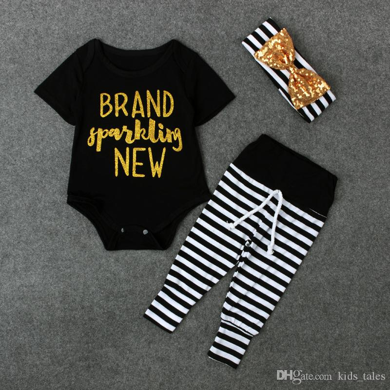 2017 Spring summer infant toddlers clothing sets baby girl short sleeve letter print romper+stripe leggings+headband Outfits