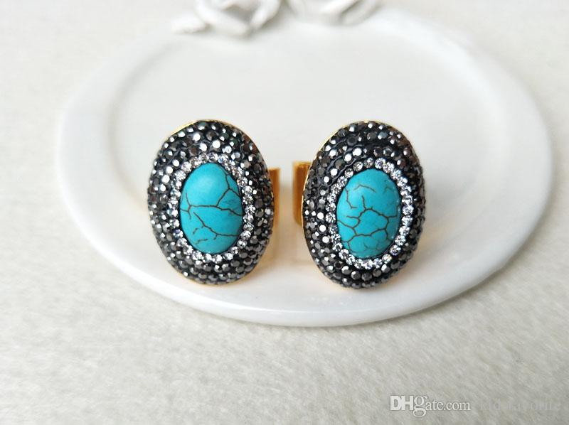 Gold color Natural turquoise tophus stone rings,Pave Crystal Rhinestone Jewelry Finger Ring R75