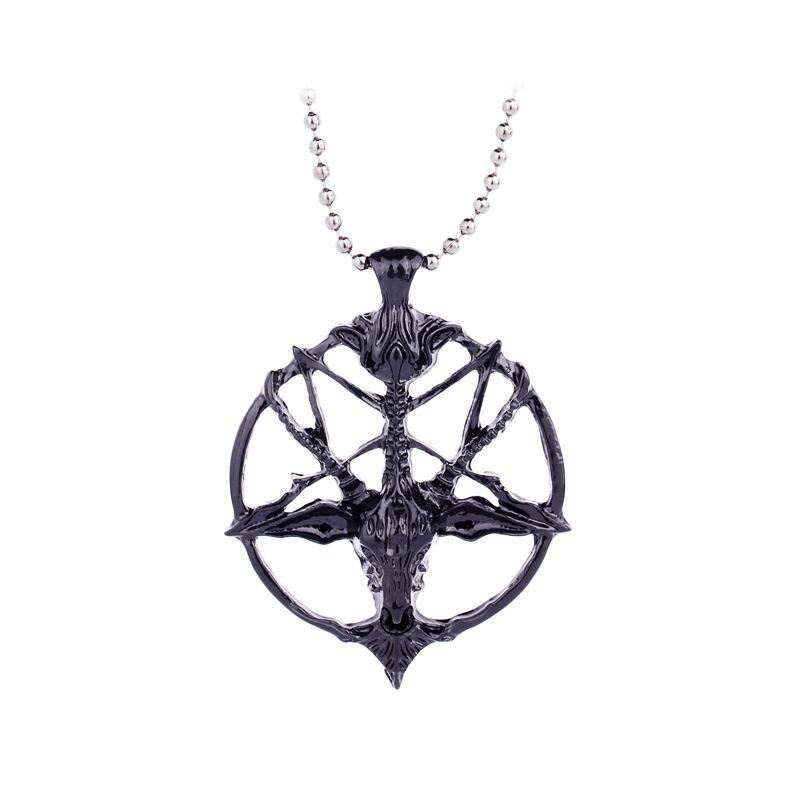 unisex round lupercalia Luperci Faunus Pan Necklace Lucifer Satan flag devil seal Pentagram Pentacle sheep Pendant Goat head Necklace x372