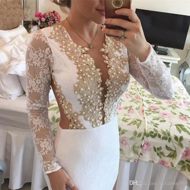 Weiße Long Sleeves Cocktailkleider Mini Rock Gold Spitze Appliques Party Kleider Homecoming Kleider vestido de noiva