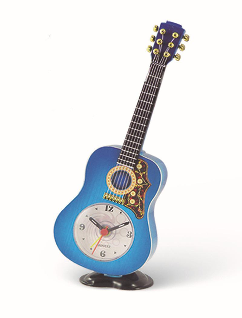 Wholesale Electronic Desk Clock Despertador Wall Clock Factory Direct Imitation Wood Simple Fashion Decorative Retro 23cm Colorful Guitar