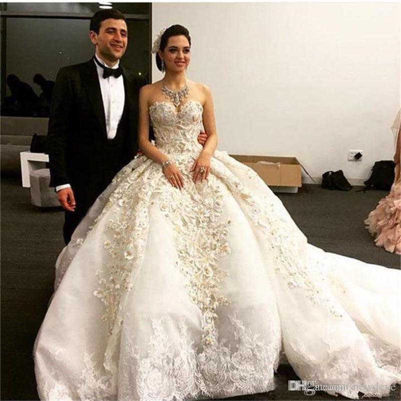 Luxus Spitze Ballkleid Brautkleider Backless Vintage Bead Hochzeit Kleid Plus Size Schatz Brautkleider