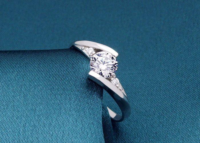 Moda Branco Prata Banhado Anel Sintético Anéis de Casamento da Noiva De Noiva Para Mulheres Presente de Jóias Encantadoras