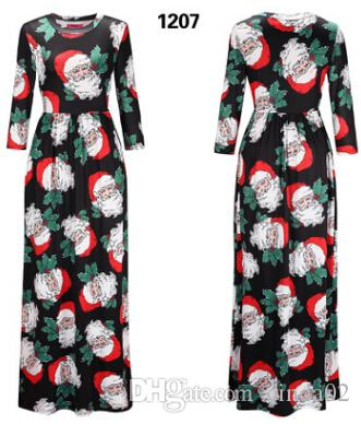 92cdfd0425a2 New Style Christmas printed long sleeve dresses Christmas Party Women's  Dress