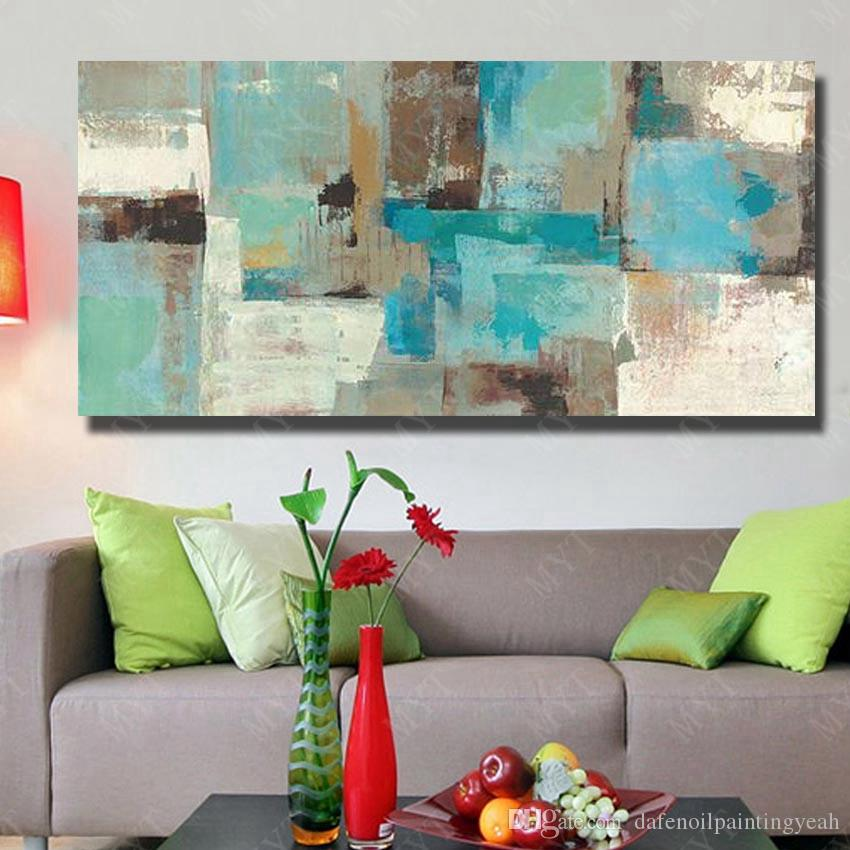 Wall Canvas Art Abstract Modern Oil Painting Pictures for Living Room Wall Decor Hand Painted Blue Painting on Canvas No Framed